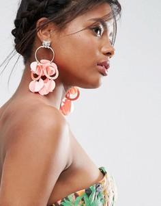 Броские серьги-кольца с розовой неоновой отделкой ASOS - Серебряный