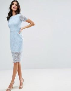 Облегающее платье миди с кружевом с фигурным краем ASOS - Синий