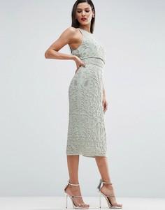 Платье-миди с вышивкой и кроп-топом ASOS RED CARPET - Зеленый