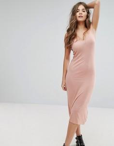 Однотонное платье макси с бретельками Brave Soul - Розовый