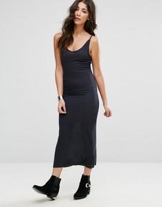 Однотонное платье макси с бретельками Brave Soul - Темно-синий