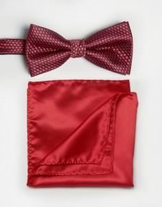 Фактурный галстук-бабочка и платок для нагрудного кармана красного цвета Selected - Красный