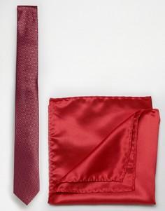 Красный галстук и однотонный платок для нагрудного кармана Selected - Красный