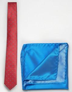 Галстук в мелкий горошек с принтом пейсли и платок для нагрудного кармана Selected - Красный