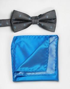 Черный галстук-бабочка и голубой платок для нагрудного кармана Selected - Черный