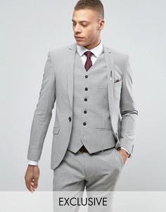 Приталенный пиджак в ломаную клетку Heart & Dagger Summer - Серый