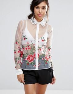 Полупрозрачная рубашка с цветочной вышивкой Fashion Union - Белый