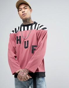 Лонгслив с большим логотипом HUF - Розовый