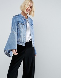 Рваная джинсовая куртка с расклешенными рукавами ASOS - Синий