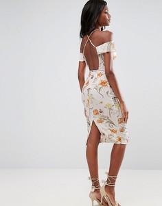 Платье миди с открытыми плечами и цветочным принтом ASOS - Мульти