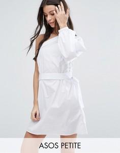 Хлопковое платье мини на одно плечо ASOS PETITE - Белый