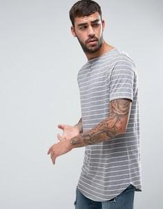 Длинная футболка в полоску с асимметричной кромкой ASOS - Серый