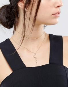Ярусное ожерелье с цепочкой-чокером и змейкой DesignB - Золотой