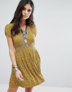 Платье мини с v-образным врезом Free People Pretty Baby - Желтый
