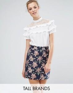 Блузка с кружевной кокеткой и рюшами Fashion Union Tall - Белый