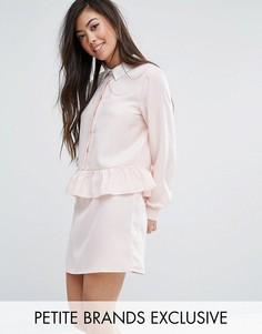 Платье с длинными рукавами и оборкой Fashion Union Petite - Розовый