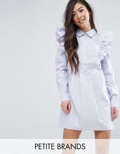 Платье-рубашка с оборками на плечах Fashion Union Petite - Синий