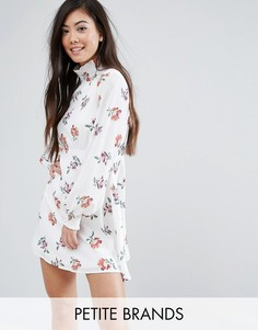 Короткое приталенное платье с высоким воротом и принтом Fashion Union Petite - Мульти