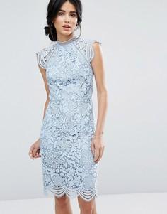 Кружевное платье-футляр с фигурными краями Chi Chi London - Синий