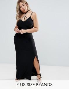Платье макси с отделкой в восточном стиле Club L Plus - Черный