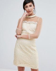 Цельнокройное платье с сетчатыми рукавами Little Mistress - Бежевый