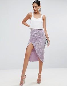 Бархатная юбка-карандаш с запахом ASOS - Фиолетовый