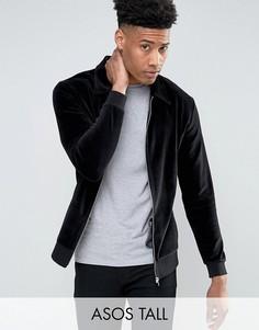 Велюровая трикотажная куртка Харрингтон ASOS TALL - Черный