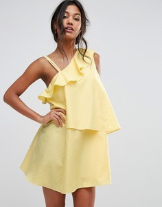 Ярусное платье в клеточку на одно плечо Boohoo - Желтый