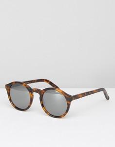 Солнцезащитные очки в круглой черепаховой оправе с зеркальными стеклами Monokel Barstow - Коричневый