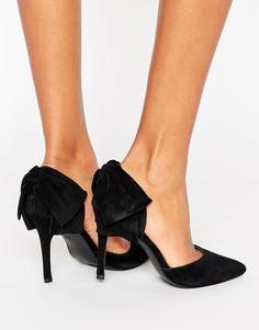 Замшевые остроносые туфли-лодочки с бантом на заднике New Look - Черный