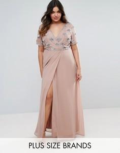 Платье макси с запахом и декорированным лифом Lovedrobe Luxe - Розовый