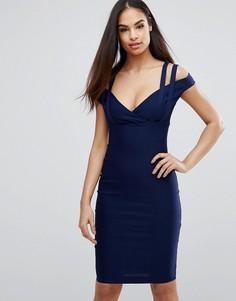 Платье-футляр с глубоким вырезом в форме сердца и ремешками Vesper - Темно-синий