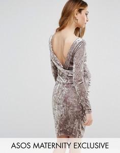 Бархатное платье с драпированным вырезом на спине ASOS Maternity - Серый