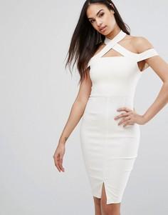 Платье-футляр с открытыми плечами и разрезом Vesper - Кремовый