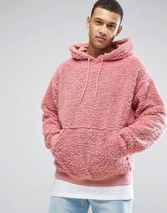 Oversize-худи из искусственного меха ASOS - Розовый
