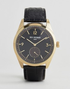 Часы с черным кожаным ремешком Ben Sherman WB052BG - Черный