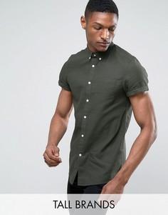Рубашка из ткани с вафельной фактурой с короткими рукавами Burton Menswear TALL - Зеленый