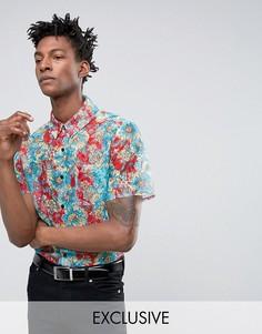 Кружевная рубашка стандартного кроя для вечеринок Reclaimed Vintage - Красный