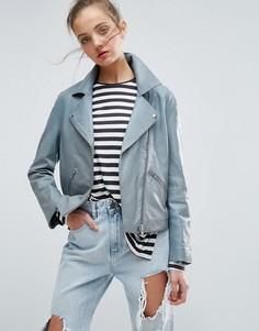 Мягкая выбеленная кожаная куртка ASOS - Синий
