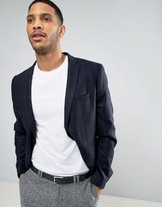 Узкий пиджак в клетку из ткани с добавлением шерсти Minimum - Темно-синий