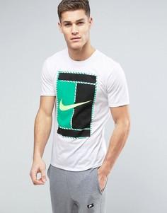 Белая футболка с большим логотипом-галочкой Nike Court 868770-101 - Белый