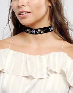 Ожерелье-чокер с цветочной вышивкой ASOS - Черный