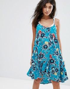 Свободное пляжное платье на бретельках с оборкой по краю и морским принтом Billabong - Синий