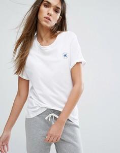 Свободная белая футболка с аппликацией Converse - Белый