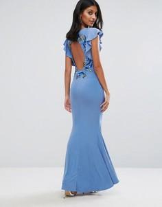 Платье макси с расклешенными рукавами и цветочной вышивкой на спине Club L - Синий