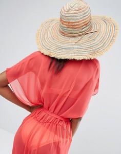 Пляжная шляпа в полоску с бахромой Hat Attack - Бежевый