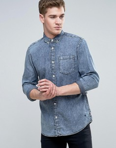 Узкая джинсовая рубашка с эффектом кислотной стирки Jack & Jones Originals - Синий