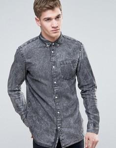Узкая джинсовая рубашка с эффектом кислотной стирки Jack & Jones Originals - Серый