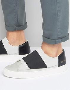 Белые кроссовки-слипоны с эластичными вставками Systvm - Белый