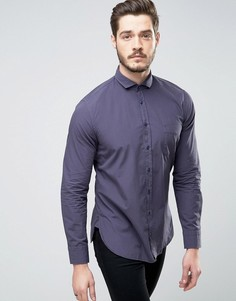 Темно-синяя поплиновая рубашка слим BOSS Orange by Hugo Boss - Темно-синий